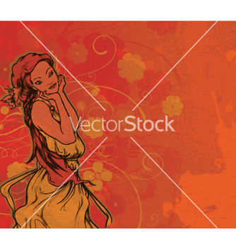 Free vintage woman with grunge floral background vector - Free vector #266479