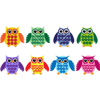 Free colorful owls vector - Free vector #266659
