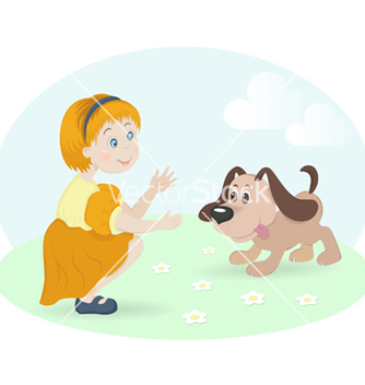 Free little girl with happy dog vector - Free vector #267119