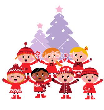 Free caroling christmas kids vector - Free vector #267169