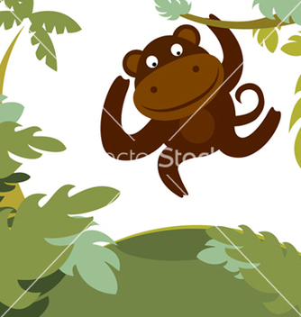Free monkey in forest vector - vector gratuit #267239
