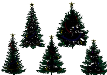 Christmas Tree Silhouette Vectors - Free vector #272439