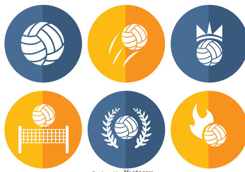 Volleyball Circle Icons - Free vector #272459