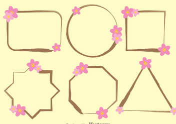Frame With Sakura Flower Template Vectors - Free vector #272699