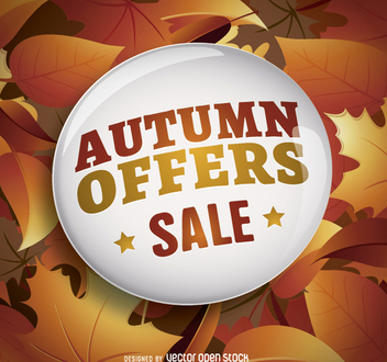 Autumn sale circle and leaves background - vector gratuit #272899