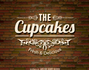 Cupcakes logo over a brickwall - Free vector #273449