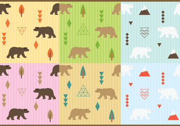 Cute Bears Pattern Vectors - Free vector #274169