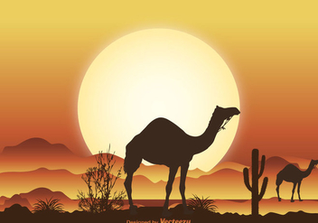 Desert Camel Scene Illustration - Free vector #274249