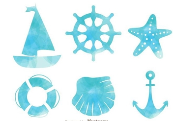 Nautical Watercolor Effect Icons - Free vector #274259