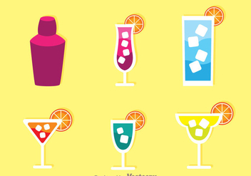 Alcohol Cocktail Icons - Free vector #274319