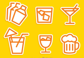Cocktail Outline Icons - Free vector #274329