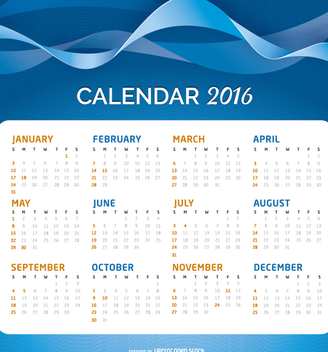 2016 Calendar over an abstract background - vector gratuit #274559