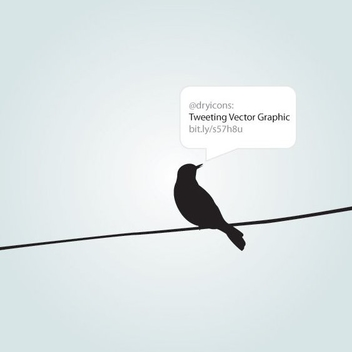 Crow on Wire with Tweet - Free vector #274569