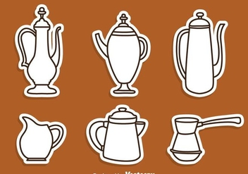 Arabic Coffee Pot Line Icons - Free vector #275119