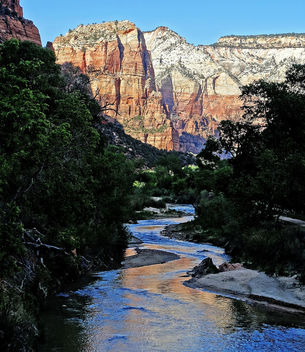 Emerald Pools Trail, Sunset on Virgin River 4-29-14 - image gratuit #291909
