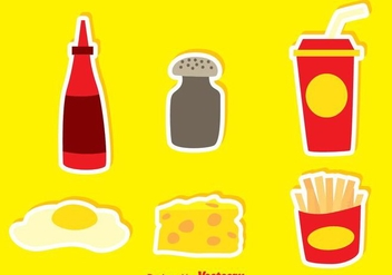 Junk Food With Pepper And Hot Sauce Icons - Free vector #297609