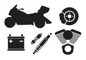 Set of Motorcycle Components in Vector - vector gratuit #297679