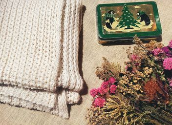 Dry flowers and knitted scarf - image gratuit #301399