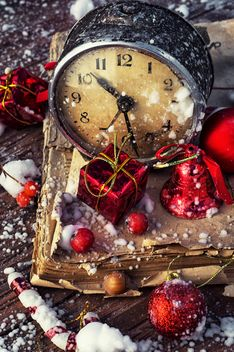 Christmas decorations, clock and old book - бесплатный image #302019