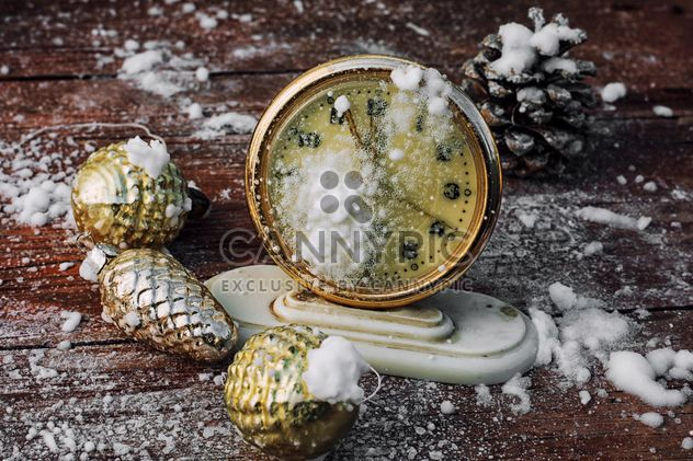 Christmas decorations and old clock - Free image #302039