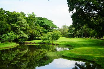 Trees and pond in park of Bangkok - image #302339 gratis