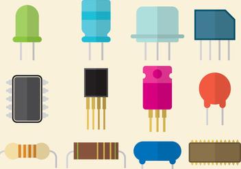 Flat Transistor Part Vectors - бесплатный vector #302619