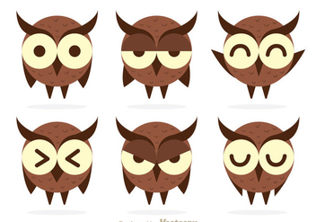 Cute Owl Expression Vectors - Free vector #302989
