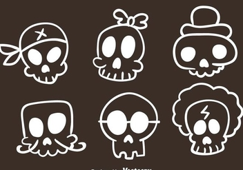 Vector Skull Sketch Icons - Free vector #303519