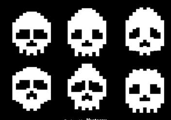 Pixel White Skull Vectors - Free vector #303569