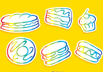 Vector Food Rainbow Outline Icons - Free vector #304179