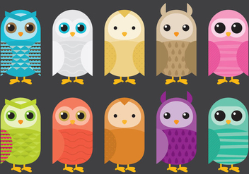Colorful Barn Owl Vectors - Free vector #304259