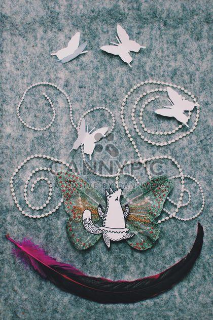Applique hergestellt aus Papier Fox, Schmetterlinge und Feder - Free image #305369