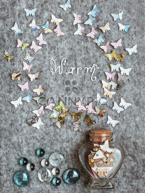 Paper butterflies around the word warm - Free image #305379