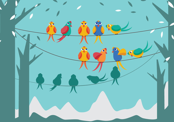 Birds on a Wire Vector - vector gratuit #305439