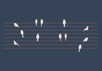 Free Birds on a Wire Vector Illustration - Kostenloses vector #305529