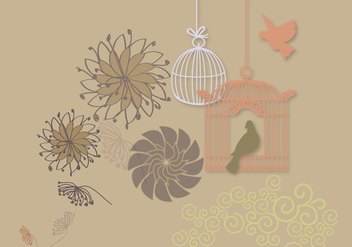 Card with Two Birds - Free vector #305619