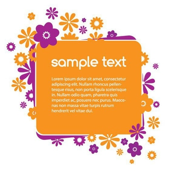 Orange Purple Flower Banner - Free vector #305899