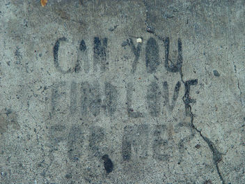 Sidewalk Stencil: Can you find love for me? - Free image #307649