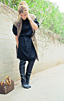 black vintage dress with over the knee black boots and sleeveless coat+tones - image #314539 gratis