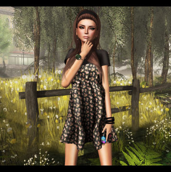 Last Day For June C88 feat -tb- Spaghetti Strap Dress - Black Floral by Julliette Westerburg - Close - image gratuit(e) #315639