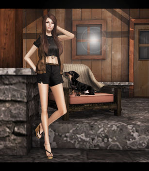 C88 June ISON - cargo vest - (tan) & okkbye Retro Top - Plain Black - image gratuit #315649