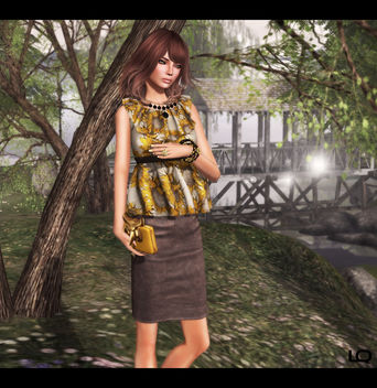 C88 July -The Secret Store - Elsa Ruffle Shirt - Sunflower & Milk Motion Clutch and -Belleza- Ashley SK BBB 2 - Free image #315699