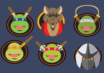 Ninja Turtles Character Badges - Free vector #317429