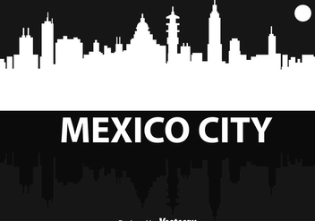 Mexico City Silhouette Night - vector gratuit #317539