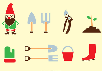 Gardening Tools Icons - Free vector #317639