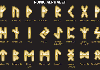 Golden Runic Alphabet - Free vector #326629