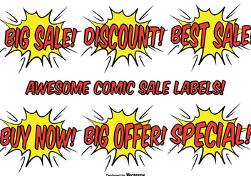 Comic Style Promotional Label Set - Free vector #327009