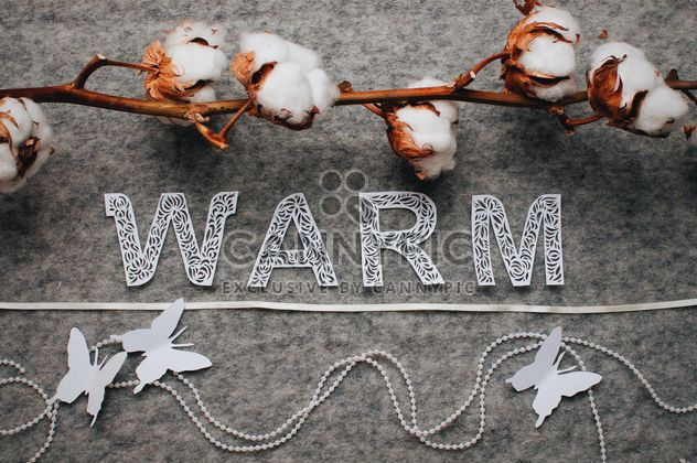 Cotton branch, word warm and decorative butterflies - Free image #327299