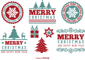 Cute Merry Christmas Label Set - Free vector #327359