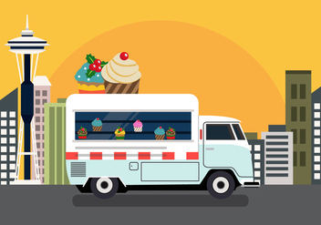 Vector Cupcake Truck - Free vector #327679